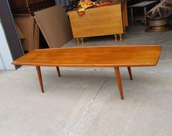 """Vintage 1950's Danish Modern Teak Surfboard Coffee Table Mid Century Solid Wood Curled Edge Denmark 73""""L Original Finish MCM"""