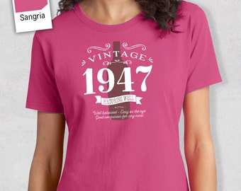 70th Birthday, 70th Birthday Idea, Great 70th Birthday Present, 70th Birthday Gift. 1947 Birthday, 70th Birthday Shirt, Women's Crew Neck!