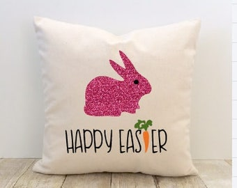 Easter Bunny Pillow Cover, Happy Easter, Happy Spring, Easter Rabbit, Easter Eggs, Hoppy Easter