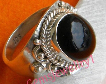Black onyx ring, 925 sterling silver,Black Ring, Black stone Ring, Black onyx Stone, Size 5 6 7 8 9 10 11 12 13 14,  RSILVER-0407150003