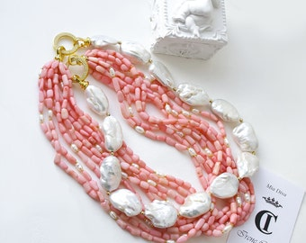 """Necklace - transformer with a coral and pearls """"skin of an angel"""""""