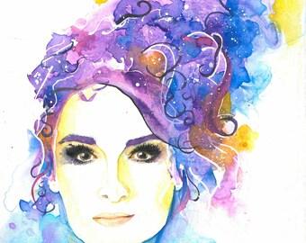 Blue Iris Painted Print