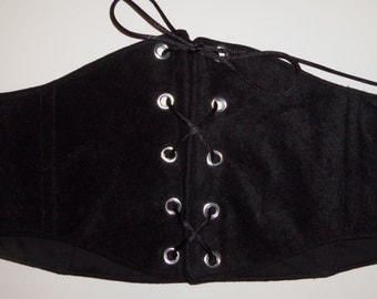 """Black Velvety/Suede Under Bust Corset or Waist Chincher for Renaissance Pirate or Steampunk Costumes 30"""" Waist Size 16 (A)"""