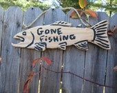 """Rustic hand carved cedar wood fish shaped"""" gone fishing """" home and living home decor wall hangings sign"""