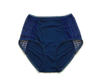 Blue high waist panties - Navy blue retro panties