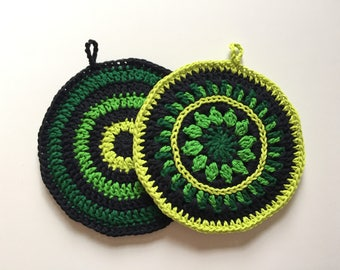 Set of 2 • Shades of Green and Black Handmade Crochet Potholders