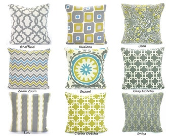 Gray Aqua Citrine on Natural Cream Pillow Cover, Cushions, Decorative Throw Pillows, Chevron Suzani Grey Cushion Cover Mix & Match All Sizes