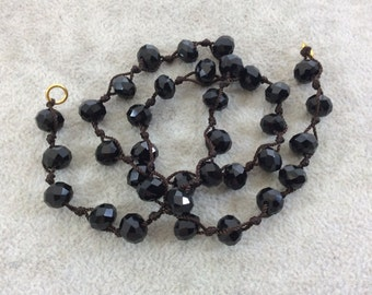 """18"""" Dark Brown Thread Necklace Section with 8mm Faceted Glossy Finish Rondelle Shaped Opaque Jet Black Chinese Crystal Beads - (18CC-02)"""