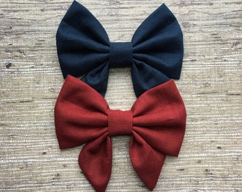 Maroon, navy blue, sailor bow
