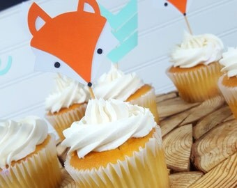 FOX Cupcake Toppers - Woodland Tribal Camping Party > Birthday Party > Baby Shower > Cake Topper