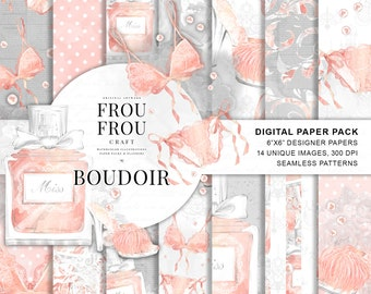 Bridal Shower Backdrop Romantic Digital Paper Pack Boudoir Photo Cover Lingerie Party Watercolor Fashion Pad Peach Girly Seamless Patterns