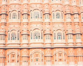 Hawa Mahal, India Travel Photograph, Pink City Print, Fine Art Photography, India Photography, Dream photo, Whimsical photo, Pink Decor