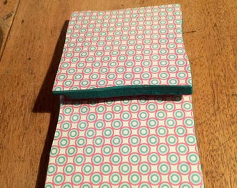 Recycled Handmade Ceramic Tile Coasters Set of Two Pink/Turquoise Circle Design