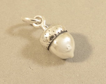 ACORN 3-D .925 Sterling Silver Charm Pendant Squirrel Garden Nut New ga76