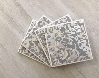 Silver Foil, Silver Coasters, Floral Coasters, Silver Floral, Tile Coasters, Ceramic Coasters, Coaster Set, Wedding Coasters, Coasters