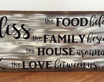 Bless the Food Wooden Sign