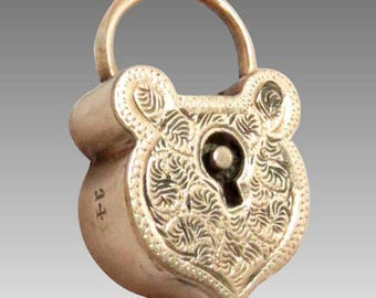 Victorian Shield Shaped Padlock in 14k Gold