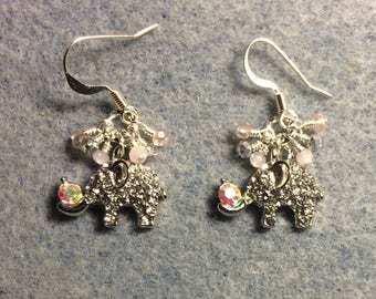 Silver and rhinestone elephant charm earrings adorned with tiny dangling pink, peach and silver Chinese crystal beads.