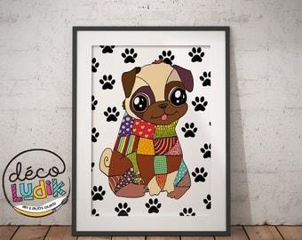 Pug lover, pug gift, pug print, pug illustration, pug art, pug wall art, dog lover, pug decoration