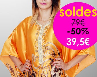 Caftan/kaftan yellow moutard Gandoura. BALANCE with Up To 50% Off: 1 only model remaining in size 38-42