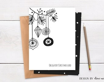 Obligatory Christmas Card , Funny Holiday Card , Grumpy Card , Funny Christmas Card , Xmas Card , Printable , Instant Download