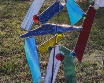 Stained Glass Multi colored Garden Art