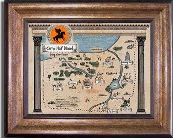 Percy Jackson, Camp Half-Blood Map, Rick Riordan Series, Olympians, Ancient Style Map Sizes 8x10, 11x14, 16x20, 18x24, 20x24, 24x36