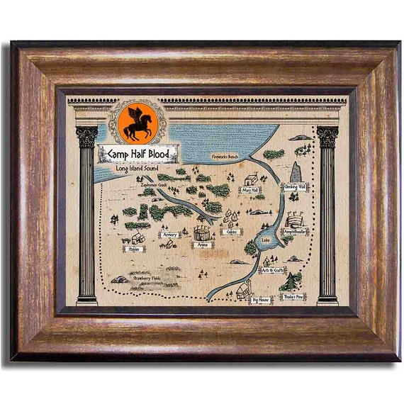 Percy Jackson, Camp Half-Blood Map, Rick Riordan Series, Olympians, Ancient Style Map Sizes 8x10, 11x14, 16x20, 18x24, 20x24, 24x36