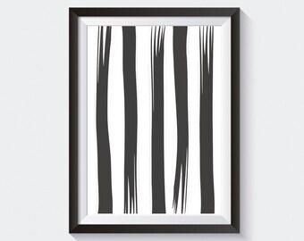 Abstract Stripe Printable, Minimalist Print, Black & White Printable, Stripe Art, Bar Cart Printable, Home Office Print, Bar Cart Art