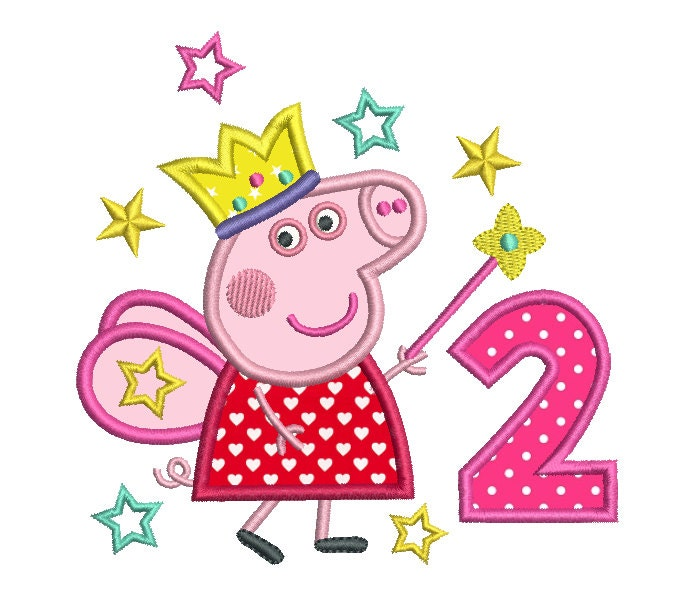 2nd Birthday Applique Machine Embroidery Design Girl's