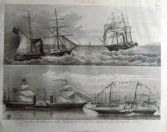 1880 - MARITIME Nautic Ship Boat Vessel - Original Antique Steel Engraving. Ethnology. Travel. Sea.