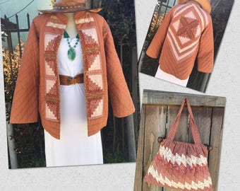 Vintage Hippie Quilted Patchwork Jacket Blazer/ Boho Handmade Cotton Quilted Jacket with Matching Quilted Purse Bag