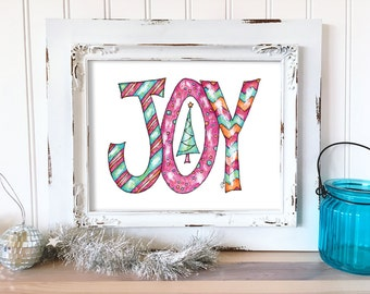 Christmas Art Print. Christmas Joy Wall Art. Hand Drawn Holiday Decor. Christmas Print. Watercolor Christmas Art. Whimsical Holiday Wall Art