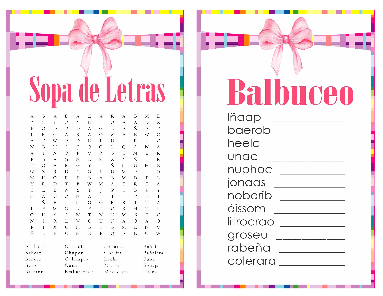 2 In 1 Games Sopa De Letras And Balbuceo Baby Shower Gift