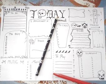gothic journal printable daily planner goth agenda travel day journaling halloween home organizer notebook journal download lasoffittadiste
