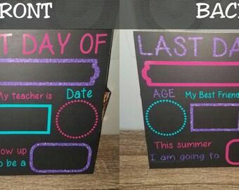 1st day of school chalkboard, reusable, REVERSIBLE, photo prop, first day of school, back to school, classroom photo prop