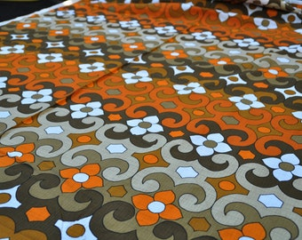 Vintage 70s: 50cmx 1, 20m flowers orange brown inventory box16