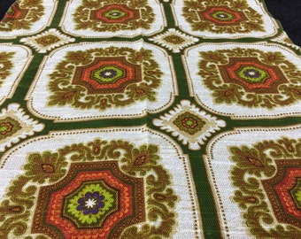 German 70s vintage fabric fabric patchwork 55cm x 55cm Green Brown Ornament