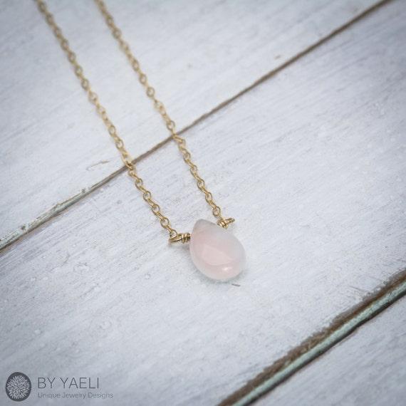Byyaeli rose quartz necklace rose quartz pendant dainty byyaeli rose quartz necklace rose quartz pendant dainty necklace love necklace drop necklace gemstone necklace minimalist necklace aloadofball Images