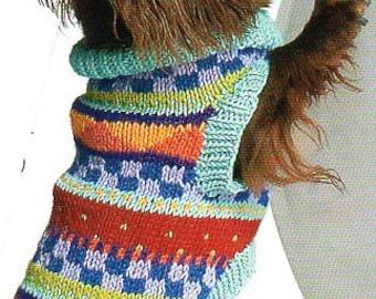 Pet Dog Sweater Coat Knitting Pattern Geometric Knit Dog Sweater Coat Knitting Pattern Small Med Large XL  PDF Instant Download