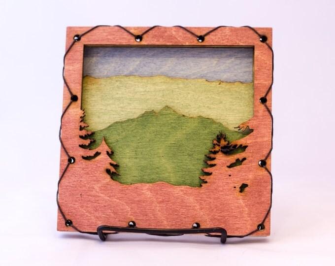 Mountain Wall Decor -  Mountain Scene - Cabin Decor - Rustic Wall Art - Mountain Home Art - Lake Home - Mountain Wall Art - Blue Sky