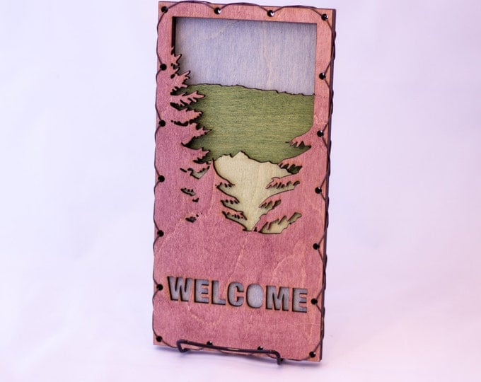 Rustic Modern Decor - Mountain Welcome Sign - Mountain Wall Art - Purple Welcome Sign - Cabin Wall Decor - Woodland Home Decor