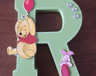 Winnie The Pooh Bear Wooden Letter Phrase and Name for baby nursery