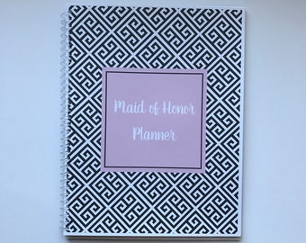Maid of Honor Planner, Bridal Shower Planner, Bachelorette Bash Planner, Maid of Honor Checklist, Wedding Planner - Black and Pink