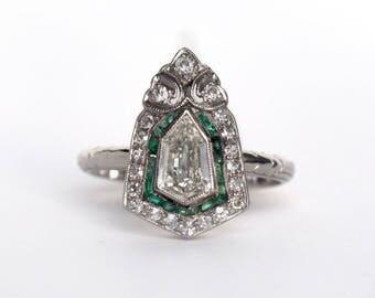 Circa 1920s Art Deco Platinum .85ct Antique Shield Step Cut Diamond Engagement Ring with .20cttw Colombian Emeralds - VEG#799