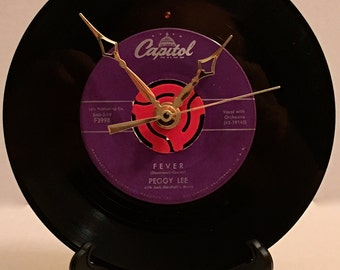 """Recycled PEGGY LEE 7"""" Record  • Fever • Record Clock"""