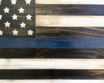 Thin Blue Line Distressed Wood American Flag Art Rustic Weathered