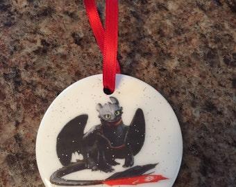 Toothless Dragon ~ Christmas Ornament ~ Train a Dragon ~ Night Fury ~ Porcelain