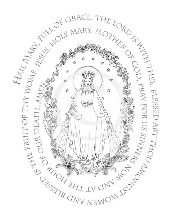 Coloring page hail mary prayer digital download for Hail mary coloring pages