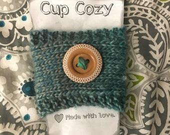 Knit cup cozie, blue knit cozie, coffee sleeve, reusable cup cozy, blue coffee cup sleeve, button cup cozy, knit cozy